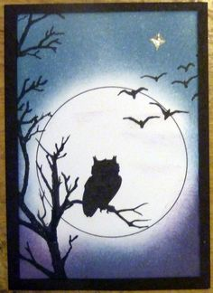 Caro - crafts and life Lavinia Stamps Cards, Owl Card, Art Impressions, Silhouette Art, Halloween Cards, Art Plastique, Fabric Painting, Painted Rocks, Making Ideas