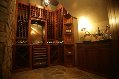 This is a custom wine cellar by Kessick with ornamental corbels and a white wine cooler with a custom mahogany door overlay. Wine Wednesday, White Wine, Overlay, Wine Rooms, Wine Cellars, Doors, Rustic, Interior Design, Home Decor