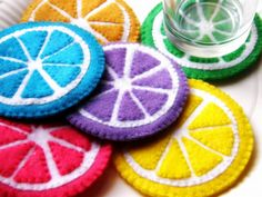 6 X Felt Coasters - Citrus Theme. Easy and fun for summer!