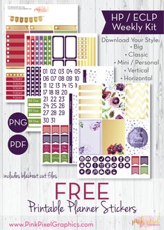 Free Printable Violet Blooms Planner Stickers from Pink Pixel Graphics {newsletter subscription required}