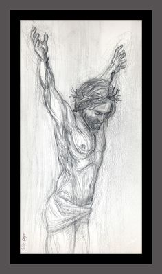 """This is a pencil drawing of Jesus on the cross. I omitted the cross to keep the focus on Jesus. The title is """"Jesus sans cross"""". """"Sans"""" is latin for without. Artwork by Corbie Eva Crouse. Greeting cards available on www.zazzle.com/CorbieEvaArt"""