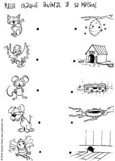 Coloriage : Relie chaque animal à sa maison