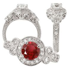 18k Elite Collection Chatham created 6.5mm round ruby engagement ring with natural diamond halo