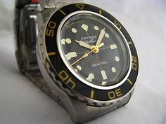 This is modified Seiko 5 that bears an uncanny resemblance to the Fifty Five Fathoms, a highly collectable Blancpain Fifty Fathoms, a legendary diving watch made famous by Jacques Cousteau and the U.S. Navy Seals.
