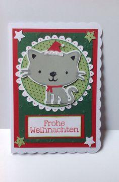 """Weihnachtskarte mit """"Kätzchen"""" von DekoWunderwelt auf DaWanda.com"""