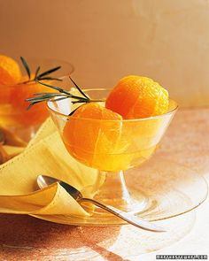 Oranges with Dessert Wine and Rosemary  Sweet muscat dessert wine and dry white wine come together for this dish that'll take a lunch-box snack -- the orange -- to a whole new level.