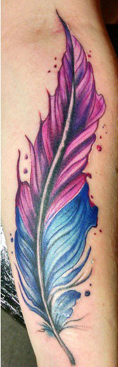 freehand water color tattoo feather watercolor feather tattoo #watercolortattoos #watercolortattoo