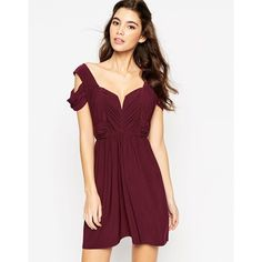 ASOS WEDDING Drape Cold Shoulder Mini Dress ($18) ❤ liked on Polyvore featuring dresses, oxblood, asos dresses, short dresses, tall dresses, slimming dresses and slimming cocktail dresses