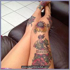 Rose, thigh tattoo on TattooChief.com