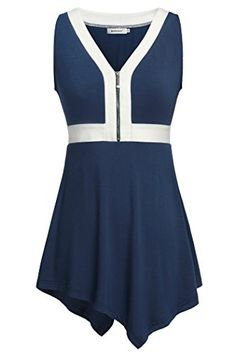 Womens Tee and Tops,Kospoon Loose Zipper Front V Neck Sleeveless Tank Top Blue L  Special Offer: $27.99  144 Reviews Kospoon Womens Zip V Neck Color Block High Low Hem Sleeveless A Line Tunic Tops Kospoon is a new brand with new ideas. We are trying our best to provide the most...