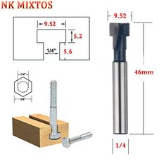 1PCS Advanced Quality 3/8 inch x 1/4 inch Shank T-Slot Cutter Router Bit For Wood Perforation Keyhole Hole