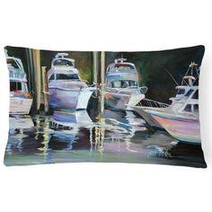 Carolines Treasures Deep Sea Fishing Boats Rectangle Decorative Pillow - JMK1048PW1216