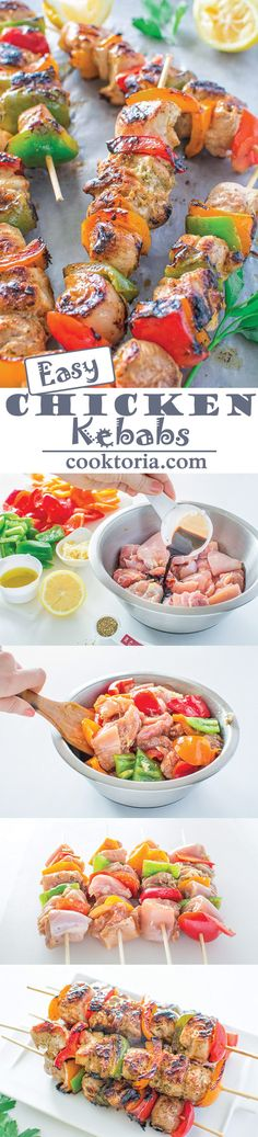 Healthy Recipes : Illustration Description Very tender and so flavorful, these Easy Chicken Kebabs are MUST TRY this summer! This is my go-to kebab recipe. Easy Chicken Kebab Recipe, Chicken Kabobs, Chicken Recipes, Kebab Recipes, Grilling Recipes, Cooking Recipes, Healthy Recipes, Healthy Grilling, Fingerfood Party