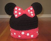 Crochet Minnie Mouse Inspired Beanie with Bow (Toddler, Child & Adult size) - hat, knit, mickey, disney, newborn, girl, photo prop. $25.00, via Etsy.