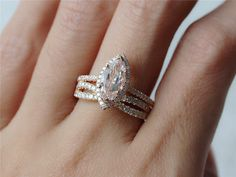 Two-rings Set 5x11mm Fancy Morganite Engagement Ring Marquise Jewery  with Wedding Band Antique Diamond Ring 14K Rose Gold Band by InOurStar on Etsy