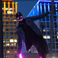 Image of Night Huntsman Mask Led Neon, Led Light Mask, Purge Mask, Glow Mask, Masked Man, Photo Lighting, Night Vision, Cosplay, Pictures