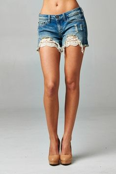 These adorable denim shorts have been dressed up with crocheted detailing that takes these shorts to a whole new level! These shorts are a soft and stretchy medium wash denim to keep you cute and comf Lace Jean Shorts, Denim And Lace, Distressed Denim Shorts, Women's Shorts, Crochet Shorts, Crochet Lace, Short Outfits, Summer Outfits, Summer Clothes