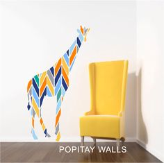 Nursery Decor Giraffe Wall Decal, Colorful Geometric Giraffe Decal, Safari…