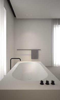 Badkamer | minimalistisch | zwart - wit | bad | Bathroom | black & white | bewonen.nl