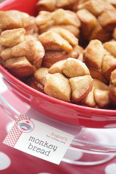 mini monkey bread served at a sock monkey theme party!