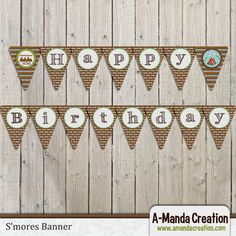 S'mores Party Printable Banner from #AmandaCreation, a great decoration for your S'mores party