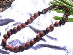 Free shipping Natural brown palm bead and black wood beads tribal jungle collection on black leather necklace with wooden chain OOAK $34.95