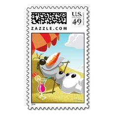 Olaf Chillin' in the #Sunshine #Postage #Stamp #frozen #elsa #olaf #anna #sven #disney #kristoff