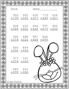 Need extra addition practice? These ten pages focus on three digit addition. Most problems require regrouping. No prep, just print and go. There is an answer key included. Math Stations, Math Centers, Math Worksheets, Teaching Resources, School Site, Third Grade Math, Math Numbers, Elementary Math, Graphic Organizers