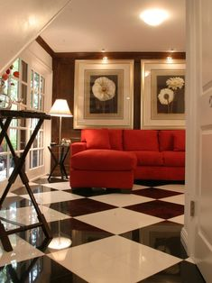 Excellent Black And White Floor Tiles Ideas: Contemporary Family Room With Harlequin Black And White Floor Tiles L Shape Red Sofa ~ aureasf.com Bathroom Inspiration