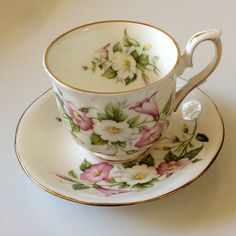 Duchess China, Cup and Saucer, Made in England, Pink White Yellow Green colors
