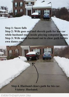 funny caption husbands solution to digging out car from snow - From 11 Fun Bands pics, photos and memes. - SillyCool