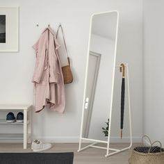 IKEA KNAPPER standing mirror Provided with safety film - reduces damage if glass is broken. Stand Up Mirror, Full Body Mirror, Living Room Decor, Bedroom Decor, Ikea Bedroom, Bedroom Furniture, Living Rooms, Ikea Mirror, White Mirror