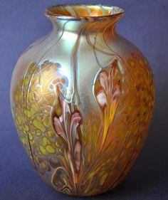 Richard Golding Station Glass Gold Vase With Purple Flowers http://www.bwthornton.co.uk/isle-of-wight-richard-golding-bath-aqua-glass.php
