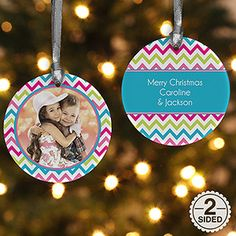 I am LOVING this new 2-Sided Chevron Personalized Photo Ornament... the colors are so cute! Love that you can add any photo and create your own message on the back! #christmas #chevron #ornament