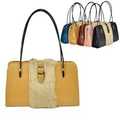 Women's Fashion PU Leather Fur Shoulder Bag Handbag Totes