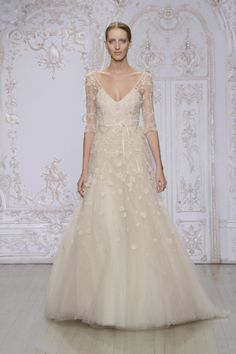 Cameo embroidered tulle 3/4 sleeve gown: http://www.stylemepretty.com/lookbook/designer/monique-lhuillier/ #SMPLookBook