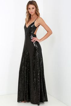 Ignite the night and charm all you encounter in the Charismatic Spark Black Sequin Maxi Dress! A triangle bodice is packed with elegant appeal thanks to thousands of shimmering sequins, while spaghetti straps frame a sultry open back. A dreamy maxi-length skirt flows gracefully from a fitted waistline to a floor-length hem. Hidden back zipper/hook clasp.