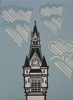 Artist: Willie Rodger Title: Tower of Town House, Aberdeen (The Union Street Folio, published by Peacock Printmakers, Aberdeen) Year: 1990 Medium: linocut & line block with screenprint Source: RSA Wood Engraving, Aberdeen, Linocut Prints, Graphic Illustration, Illustrations, Printmaking, Screen Printing, Abstract Art, Architecture