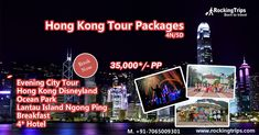 Hong Kong Tour Packages  Book Now: 35,000*/- PP 4 Nights / 5 Days   Evening City Tour Hong Kong Disneyland Ocean Park Lantau Island Ngong Ping Breakfast 4* Hotel  #HongKongTourPackages #HongKongTourPackage #HongKongPackages #HongKong #Rockingtrips  Web: www.rockingtrips.com/hongkong-tour-packages.aspx Call us:  +91-7065009301 Hong Kong Disneyland, Ocean Park, Tourism, Trips, Packaging, Island, City, Book, Viajes