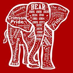 Alabama Elephant outline ss t shirt $16.99