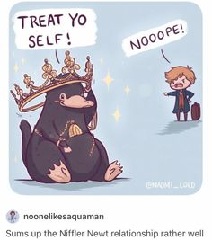 Treat Yo Self - Niffler - Newt Scamander - Fantastic Beasts and Where to Find Them - Harry Potter Harry Potter World, Mundo Harry Potter, Theme Harry Potter, Harry Potter Love, Harry Potter Fandom, Harry Potter Universal, Harry Potter Memes, Harry Potter Crossover, Harry Potter Stickers