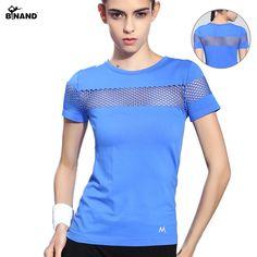 Gaya musim panas Wanita Olahraga Kebugaran T-shirt Menjalankan Lengan Pendek Cepat Kering Bernapas Gym Sexy Berongga Nilon Olahraga Tops