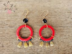 Venice Earrings Red acrylic hoops Glass stone Golden by Twininas Blue Crystals, Stones And Crystals, Earrings Handmade, Venice, Jewelry Collection, Drop Earrings, Glass, Red, Etsy