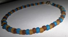 Brown and Blue Smooth Bead Anklet by MandyPandyGiftShop on Etsy