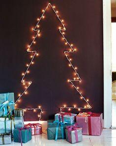 Christmas tree craft fairy lights on the wall
