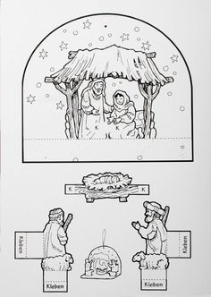 Knutselen met kleuters: Jezus is geboren / Nativity free printable Christmas Bible, Christmas Nativity, A Christmas Story, Christmas Colors, Christmas Art, Sunday School Projects, Sunday School Activities, Bible Activities, Christmas Activities