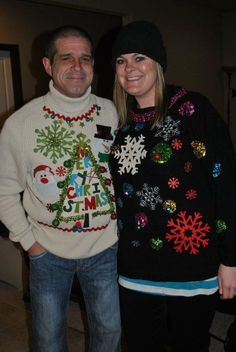 DIY Tacky Christmas Sweaters. Perfect for those ugly sweater party's since they are hard to find these days at thrift shops. Simply use or buy an old sweater. Use adhesive spray to attach cheap felt ornaments, plastic bulbs, or dollar store finds !!! Get creative, remember the uglier the better !! Super easy and inexpensive !!