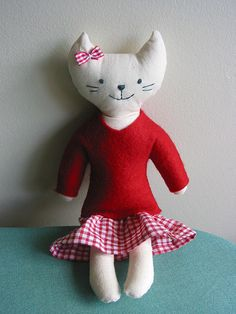 I made two of these stuffed cats for Christmas gifts this year - pair them with kitty board books for the perfect gift. Super fun and easy to make!