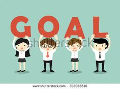 Business concept, Businessmen and business women holding 'GOAL' letters, Goal and teamwork concept. Vector illustration.