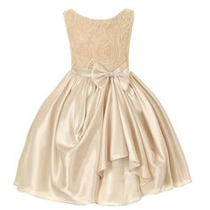 Kids Dream Girl 12 Champagne Rosette Satin Pick Up Flower Girl Dress
